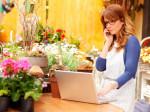 Smiling Mature Woman Florist Small Business Flower Shop Owner