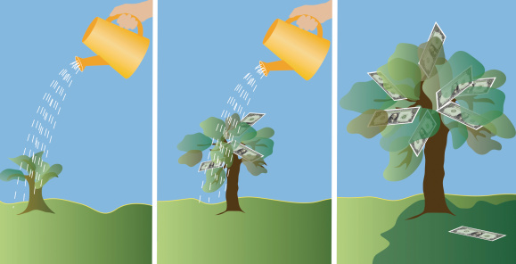 Montage of a human hand watering a sapling