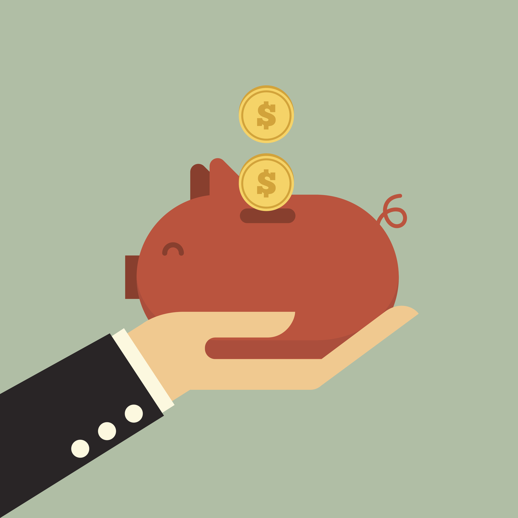 piggy bank on business hand .Saving