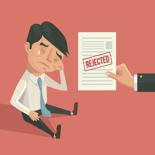 Office worker man character received refusal. Vector flat cartoon illustration