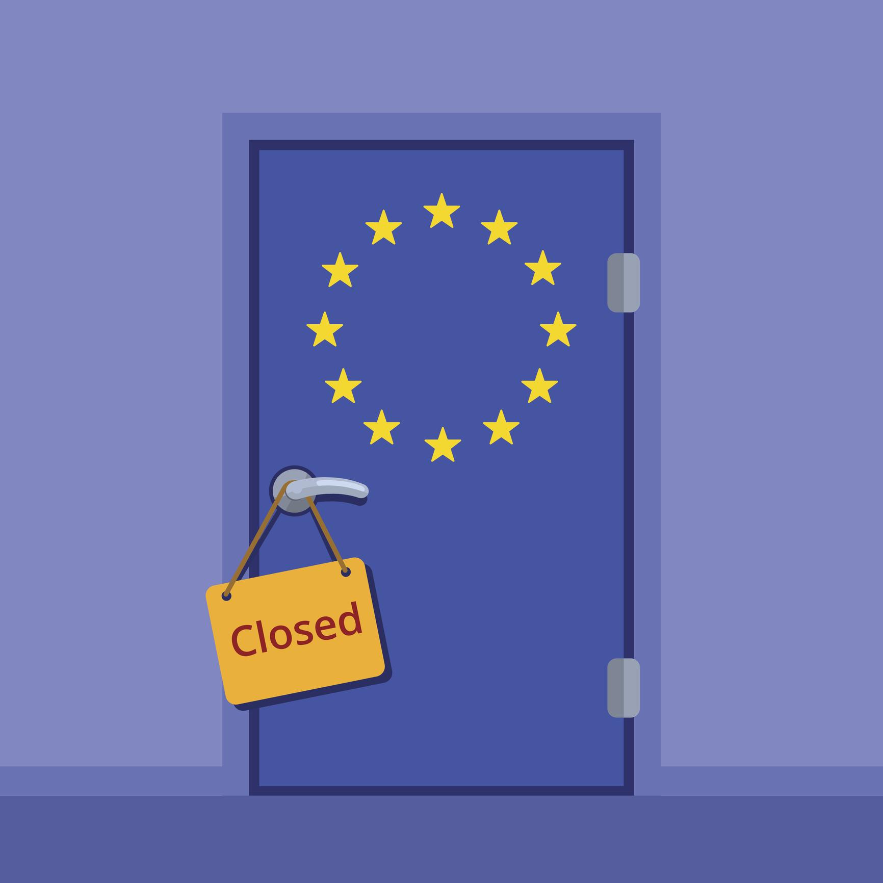 Do not disturb plate on the door handle. European Union closed door flat color vector illustration. EU stars flag cartoon image.