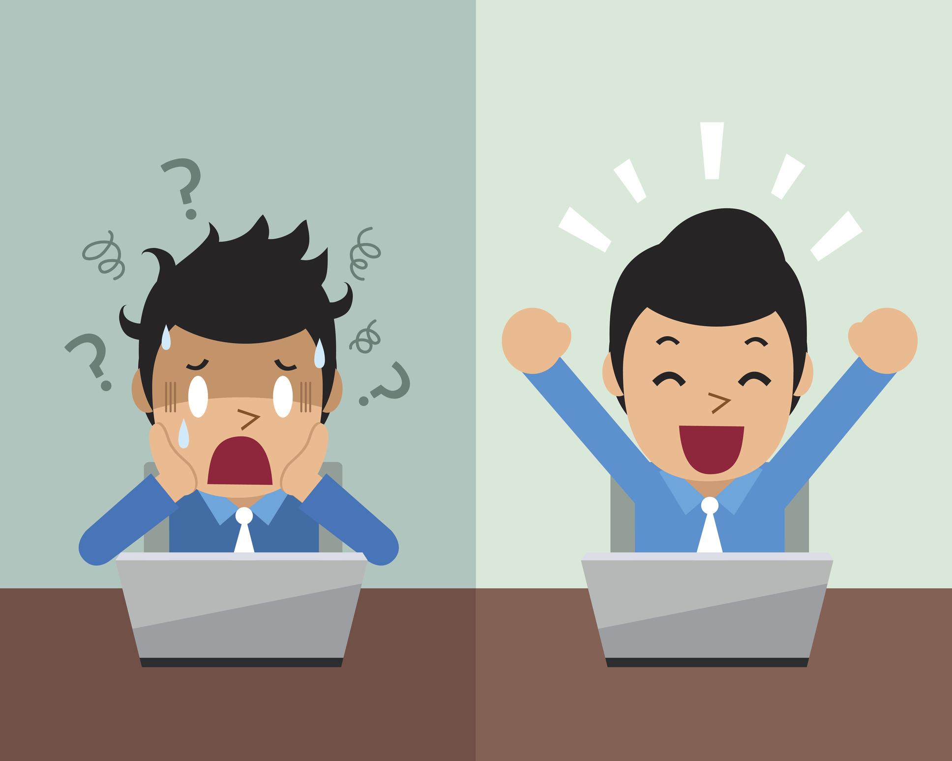 Cartoon businessman expressing different emotions for design.
