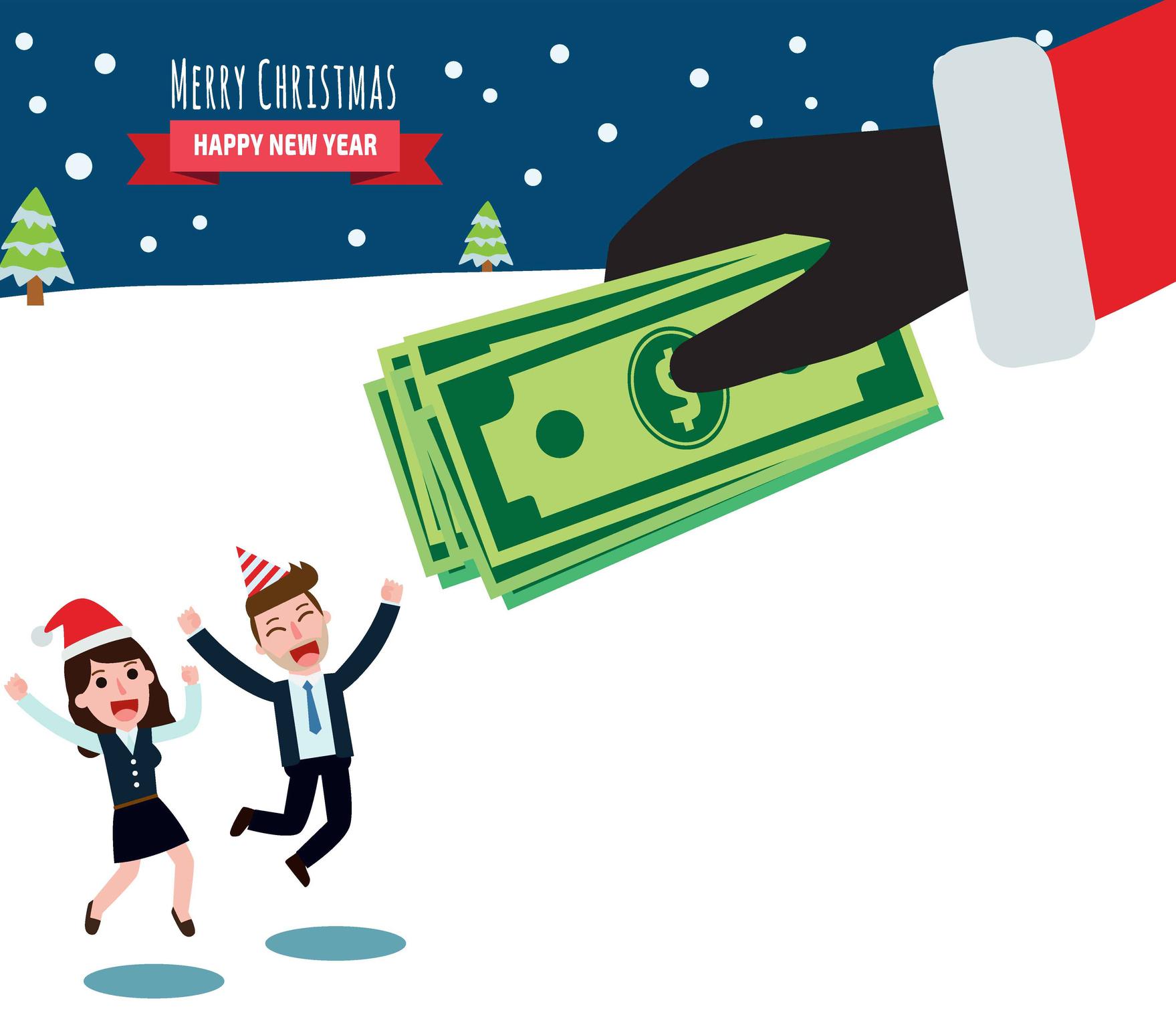 hand santa claus holding bonus money give businessman and business woman.