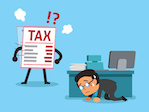 Cartoon tax letter finding businessman