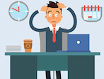 Businessman Working Day. Businessman at Work. Office Life. Shocked Businessman