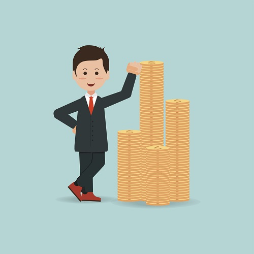 Happy businessman standing  near a pile of gold coins, business success conceptual , cartoon flat design vector Illustration.