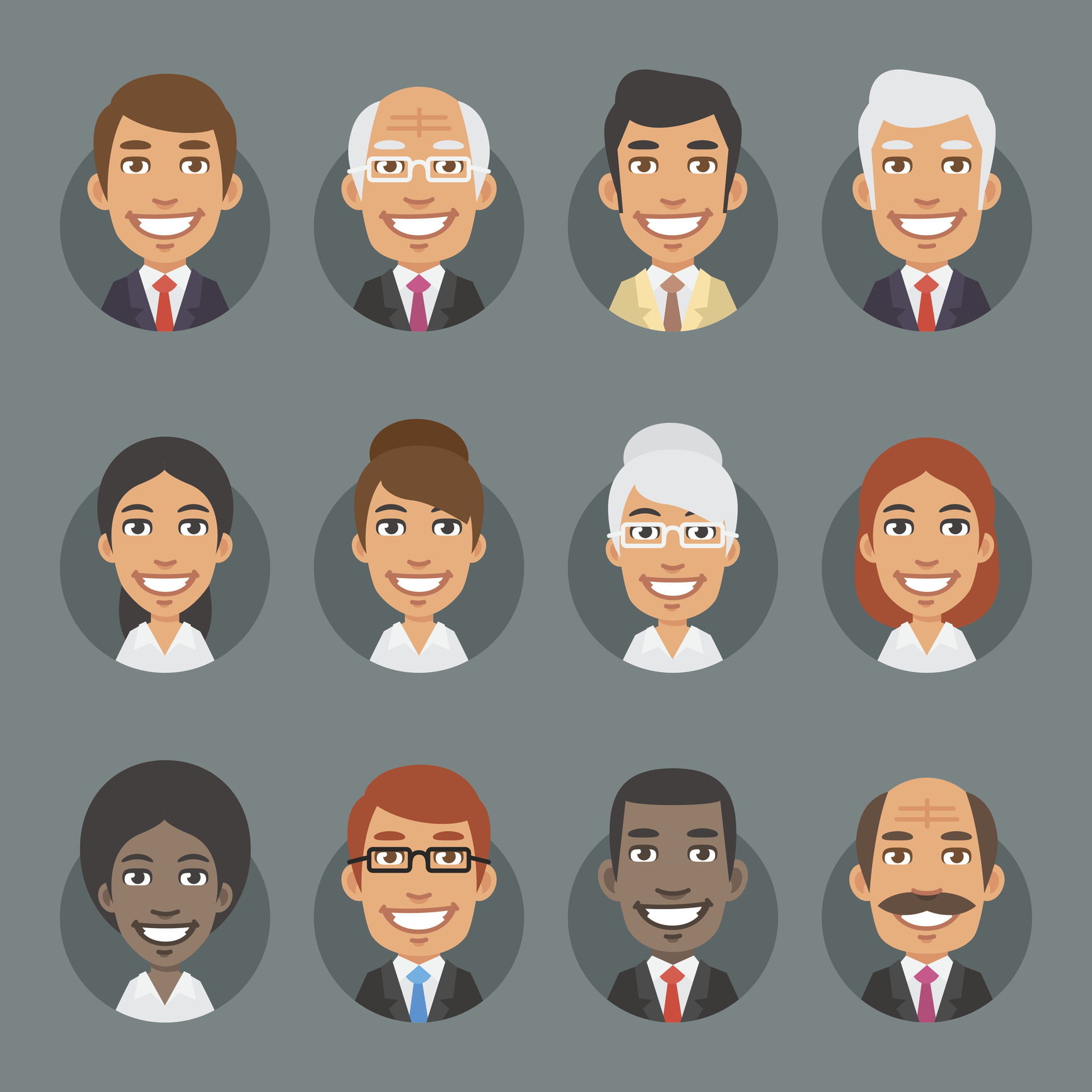 Vector Illustration, Characters Business People in Circle, Format EPS 8
